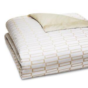 Pratesi-Bedding-Check-Jacquard-Egyptian-Cotton-QUEEN-Duvet-Cover-Gold-660-G5077