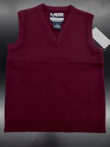 Boys French Toast Uniform Burgundy Sweater Vest Size 7 - 16