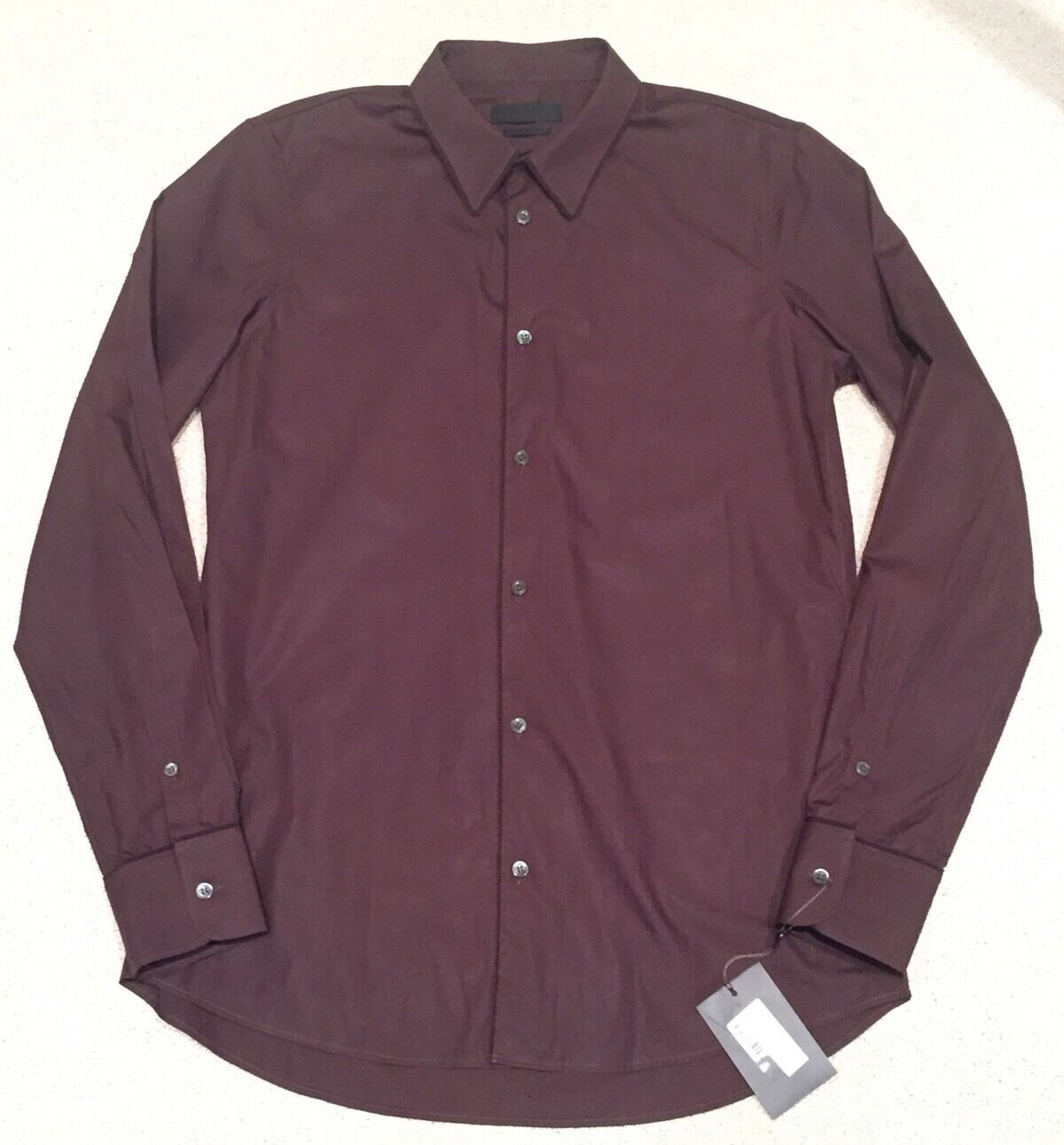 NWT 895 ALEXANDER McMQUEEN Ebony Dress Shirt w/ Grosgrain Trim SZ 50