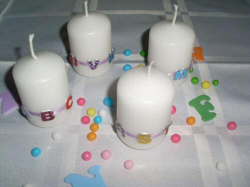 Qualität Set 4x Kerze Einschulung Schulanfang ABC Tischdeko FLIEDER TOP