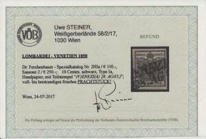 LOMBARDEI-VENETIEN 1850 10C, HP, Type I.a, VENEZIA. KW:110,-€! VÖB! PRACHT!