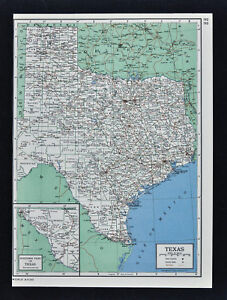 1849 Britannica Map Texas Dallas Houston Austin Ft Worth San
