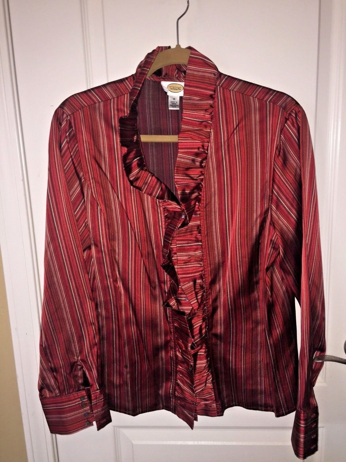 TALBOTS DRESS FORMAL OCCASION BLOUSE rot STRIPE RUFFLED COLLAR AND FRONT Größe 16