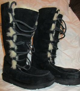 09663ae2b1b Details about UGG Black Suede Sheepskin Tularosa Uptown Boots Lace Up Boots  Sz. 5