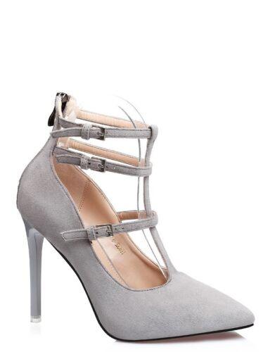 Cw994 Pelle Stiletto Cm Decolte 10 Sandali Simil Cinturino Grigio Perla Eleganti SqCwPCnv
