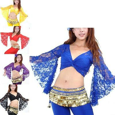 5 Colors Belly Dancing Costume Dancewear Lace Flared Sleeve Blouse Pierced Tops