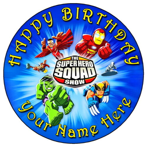 """7.5/"""" PERSONALISED ROUND EDIBLE ICING CAKE TOPPER MARVEL SUPER HERO SQUAD"""