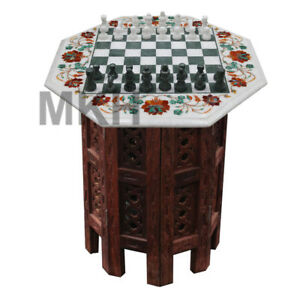 Details About 15 Marble Chess Board Inlay Stones Coffee Table Top Pietra Dura Vintage Mosaic