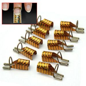 10-Nail-Form-Cartine-Riutizzabili-Oro-per-Unghie-Ricostruzione-Gel-UV-Kit
