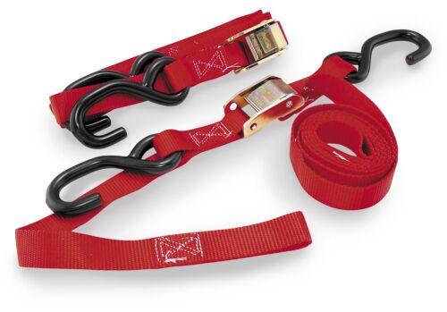 BikeMaster 100513 Tie Downs with Intergrated Soft Hooks Red