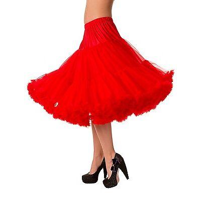 "Banned 50s Dress Rockabilly SUPER SOFT Light Petticoat Skirt 26"" Plus Size RED"