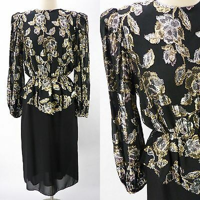 Vintage 80s Silver & Gold Peplum Lame Foil Floral Dress Black Gauze Formal M
