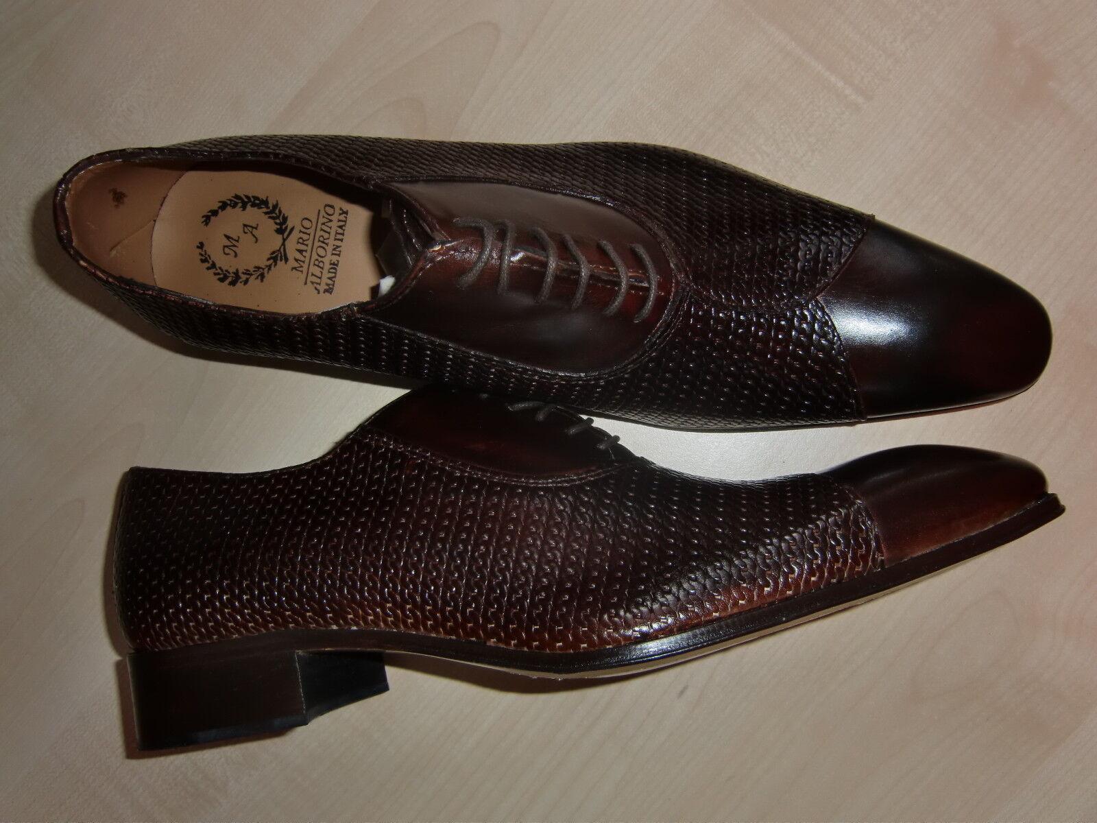 Mario Alborino, eleganter Schnürschuh für Herren, Gr. 44, braun, Leder, neu