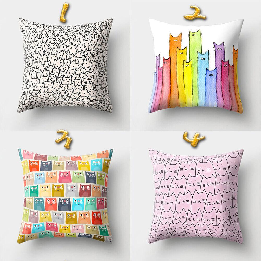 Cute Cartoon Cat Print Throw Pillow Case Cushion Cover Home Office Decor Proper Home & Garden