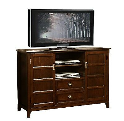 Simpli Home Burlington Collection Espresso Brown TV Media Stand
