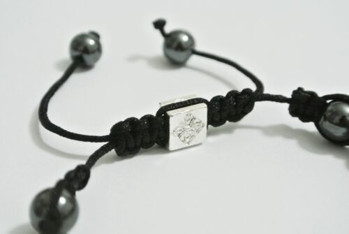 Energie Shamballa Armband Hämatit Glücksbringer Macrame 8mm Tibet Mantra Buddha