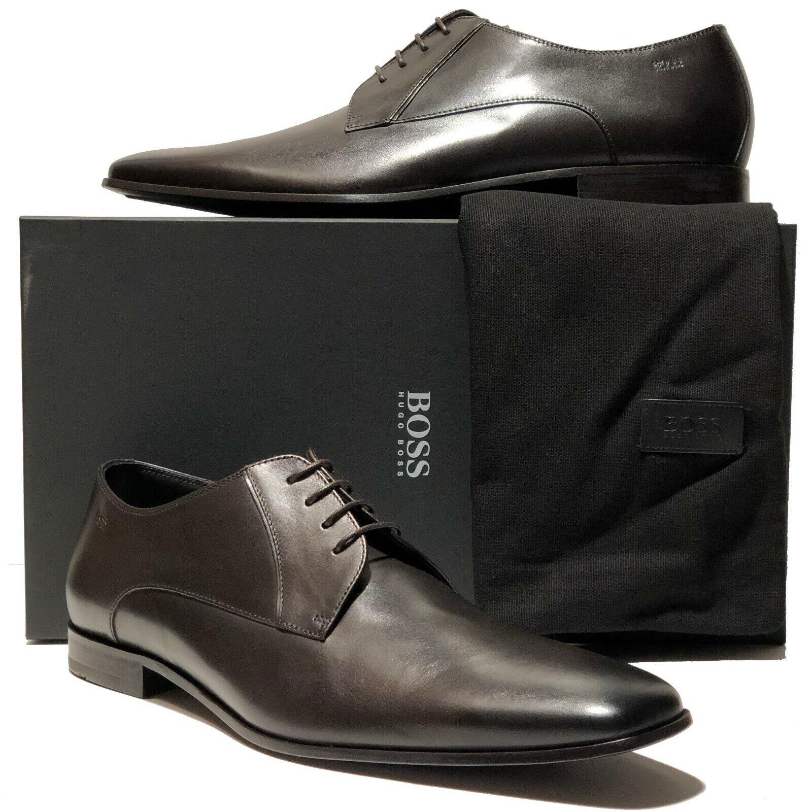 HUGO BOSS ITALY Dark Marroneee Leather 11 44 Men's Fashion Oxford Dress Derby Casual