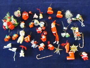 Vtg-Christmas-Corsage-Supply-Huge-Lot-Snowman-Santa-Bell-Pixie-Mercury-Glass-A54
