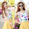 Women Summer Beach V Neck Floral Sleeveless Chiffon Vest Tank Top T-Shirt Tee