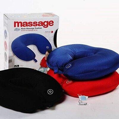 A BATTERIA Massaggiatore Collo Morbido Cuscino Pillow Comfort MASSAGGIO Travel Blue