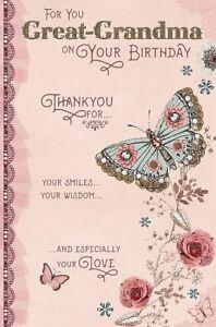 Image Is Loading Birthday Card Happy Great Grandma Wishing Well