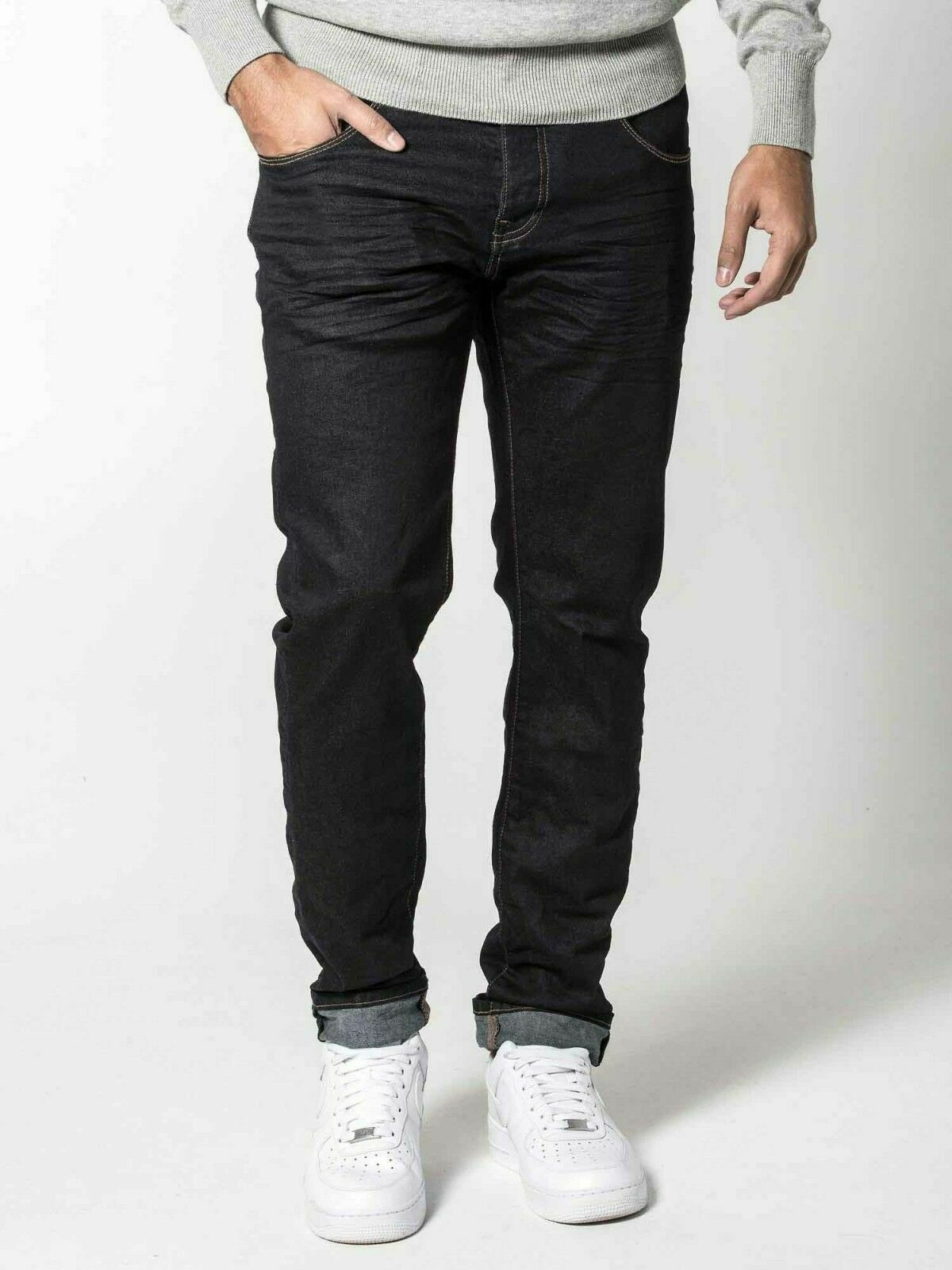 883 Police Men/'s Aivali Twisted Button Fly Denim Jeans Washed Black