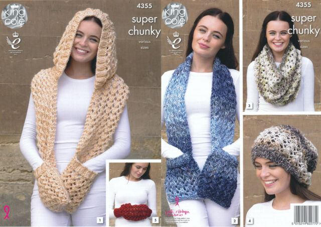 King Cole Superchunky Knitting Pattern 4355 Hooded Scarf Snood Hand