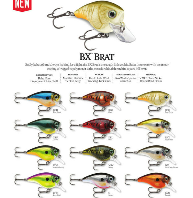 2018 Rapala BX Brat Squarebill Crankbait Pearl Grey Shiner BXB03PGS for sale online