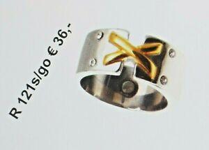 RING-EDELSTAHL-MAGNETSCHMUCK-vergoldet-mit-4-Steinen-Zirkonia-verziert-NEU
