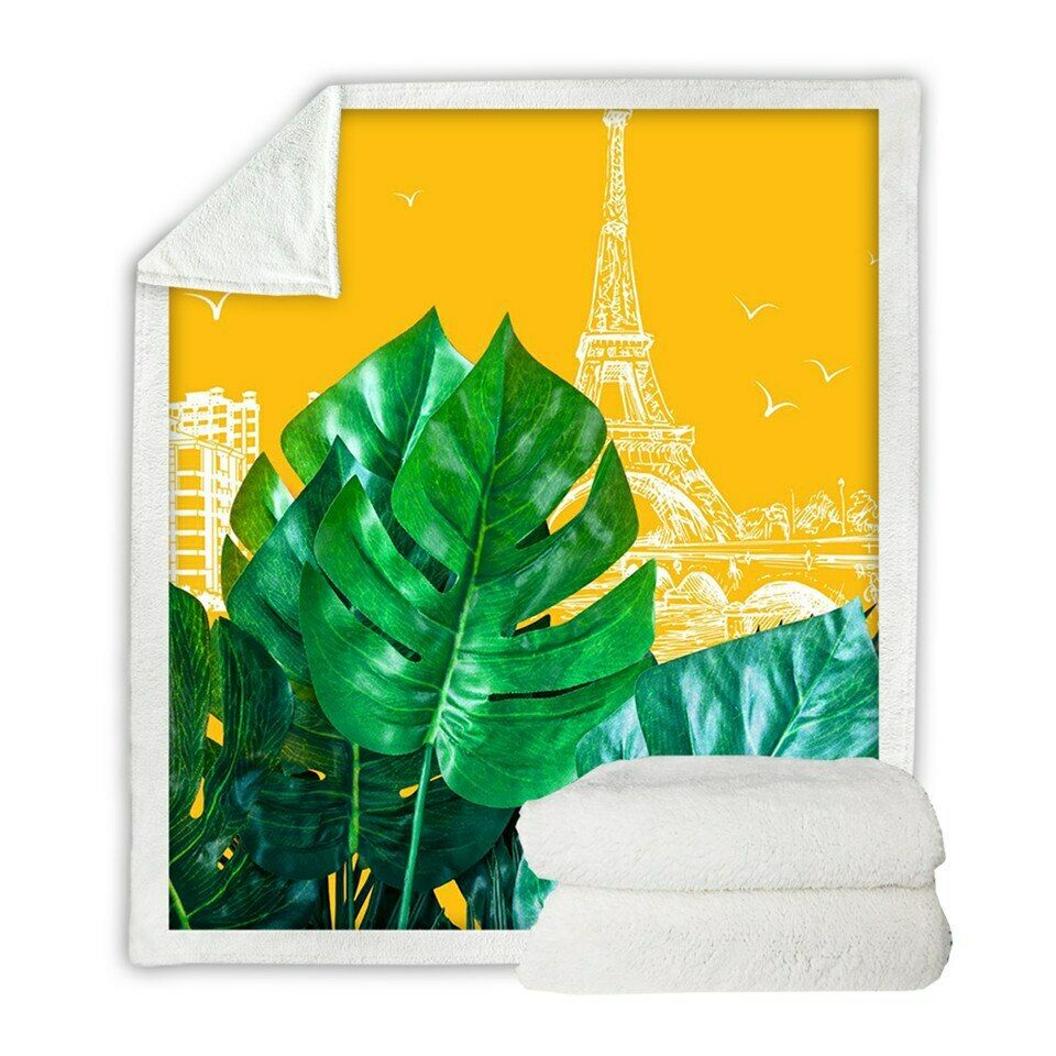 Eiffel Tower Tropical Plants Sherpa Plush Throw Blanket Fleece Bed Sofa Couch