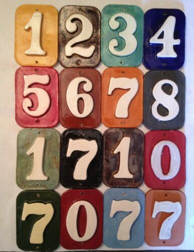 Free ship. Your colors handmade ceramic,Fadeproof House address number tiles
