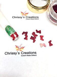 USA-HOLO-RED-CHRISTMAS-STOCKINGS-or-SANTA-BOOTS-SPANGLES-Nail-Art-Crafts