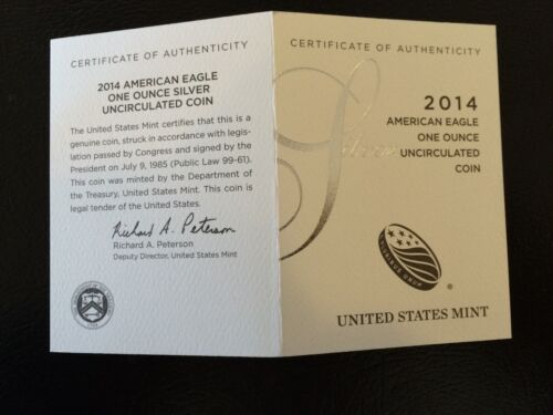 Details about  /2014 W $1 BURNISHED SILVER EAGLE BOX /& COA BUY 2 GET 1 FREE OGP ONLY NO COIN