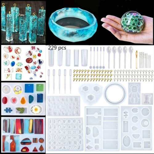 229Pcs DIY Resin Casting Molds Kit Silicone Making Jewelry Pendant Mould Craft