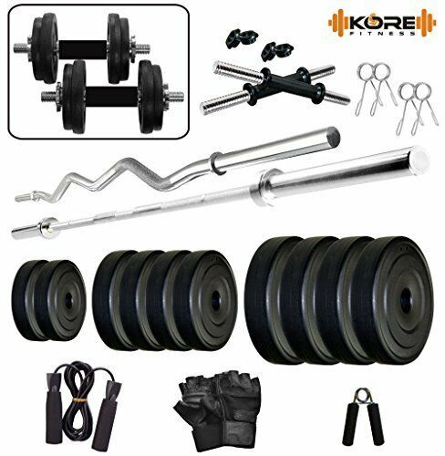 Kore PVC Combo 42-WB (8 Kg - 22 Kg) Gym Set with One Pair Dumbbell Rods