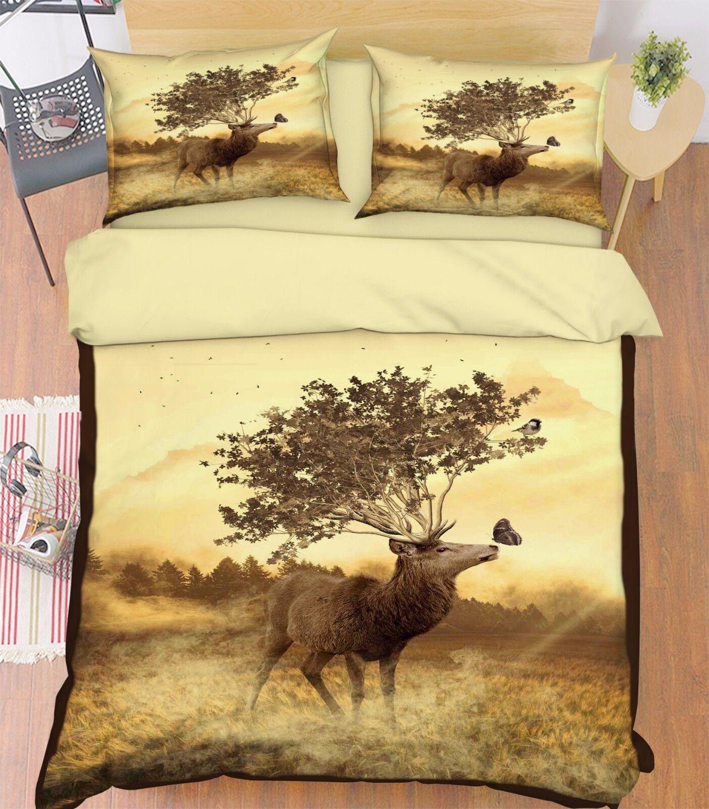 3D Meadow Deer 906 Bed Pillowcases Quilt Duvet Cover Set Single Queen UK Summer
