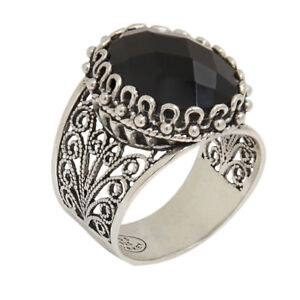 925-STERLING-SILVER-amp-BLACK-ONYX-ARTISAN-CRAFTED-FILIGREE-RING-SIZE-9