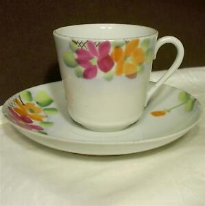 Vintage Handpainted Marked Japan Porcelain Tea Cup & Saucer Set Flowers Gilt
