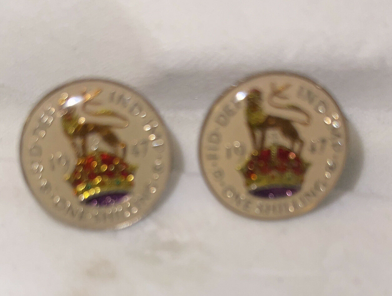 finland one shilling 1947 WITH CHROME CUFFLINK
