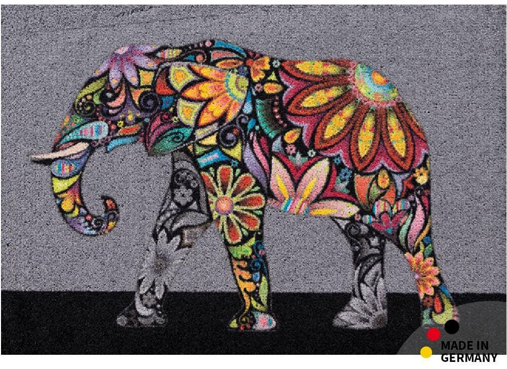 Fußmatte Schmutzfangmatte Elefant ethno bohemian 50x70 cm waschbar