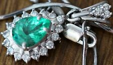 "1.03ct Emerald 18K White Gold/ Diamonds Pendant AGL Cert. 15"" Platinum 900 Chain"
