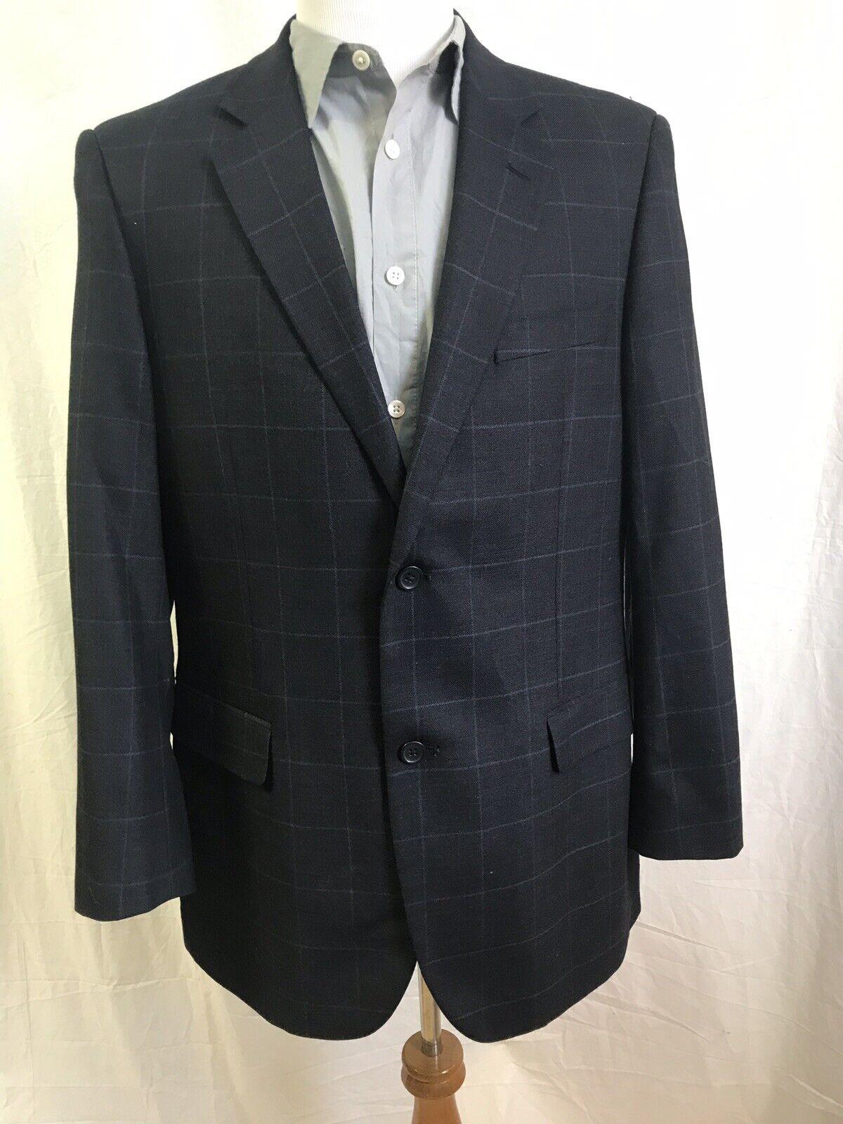 Emanuel Ungaro Fine Wool bluee 2 Button Modern Sportcoat Windowpane Plaid 44R