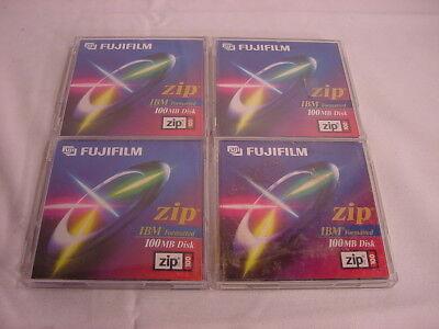 (4) Fujifilm Zip 100mb Disks Ibm Formatted