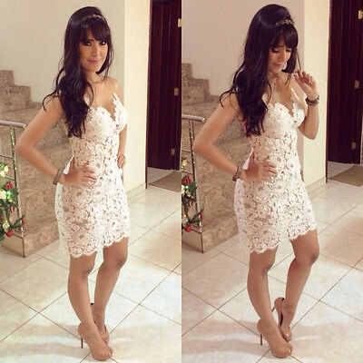 Fashion Elegant Lady White Casual Mini Dress Floral Lace Cocktail Party Clubwear
