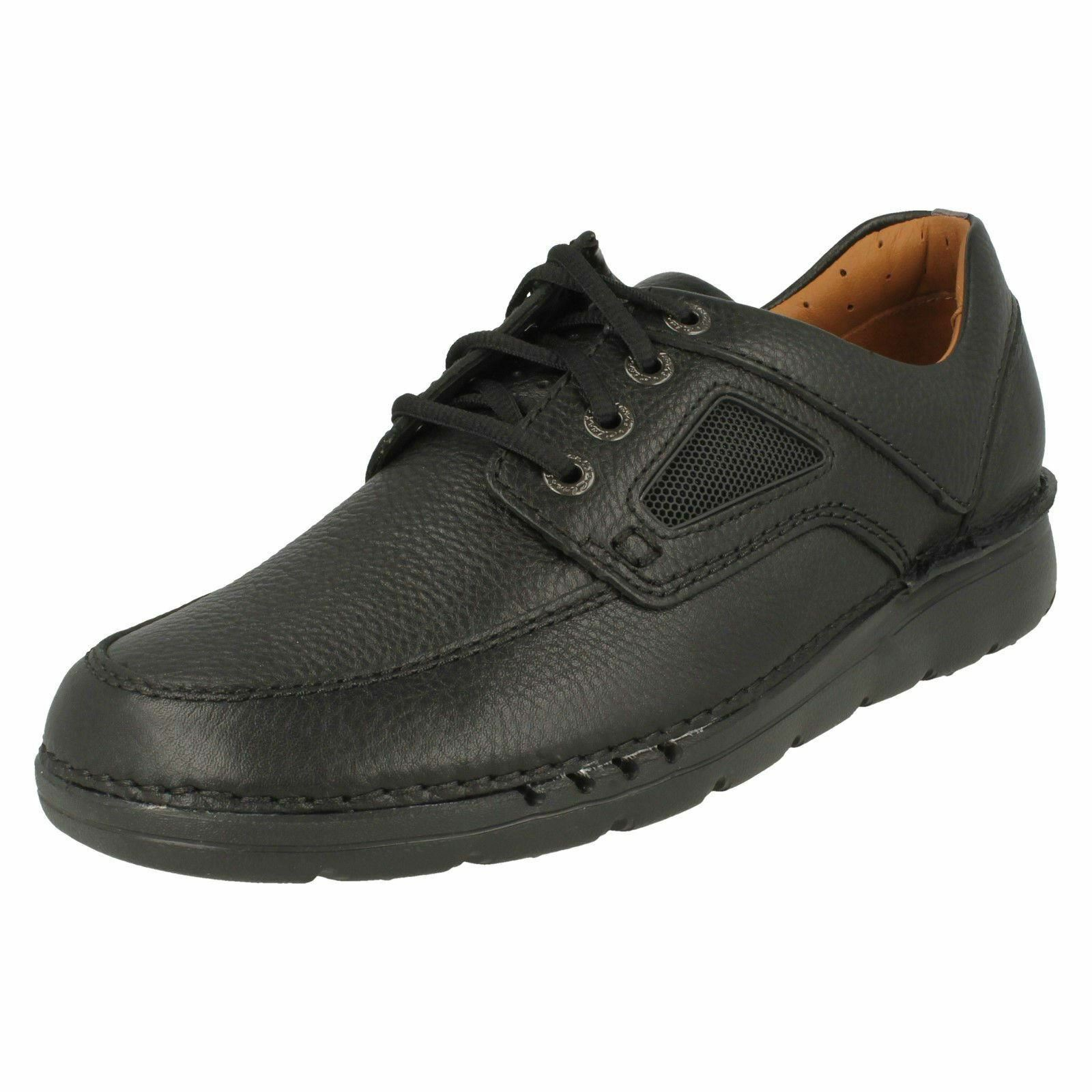 Mens Clarks Unstructured UnNature Time Black Leather Casual Lace Up Shoes