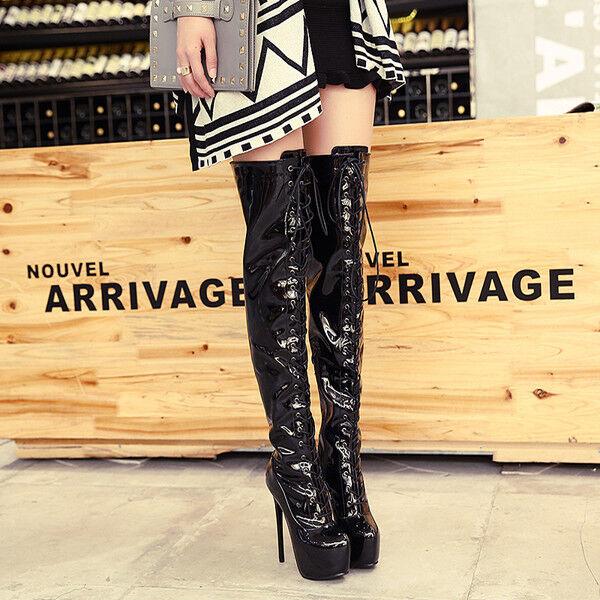 stivali stivaletti nero morbidi ginocchio coscia 16 cm stiletto  alti 9678