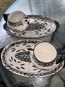 Temptations Old World Black Set Of 2 Chicken Bowl And Sandwich Plates