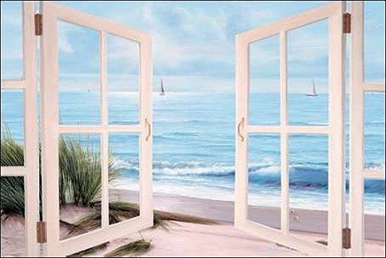 Diane Romanello  Sandpiper Beach through Door Keilrahmen-Bild Leinwand Fenster
