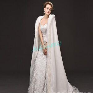 Womens Floor Length Long Cloak Hooded Winter Wedding Dress Bride ...