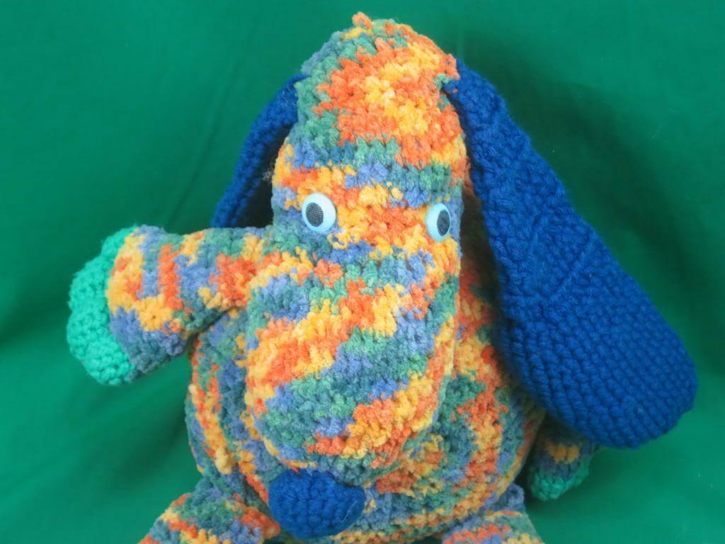 BIG HANDMADE FOLK ART CROCHET KNIT blueE blueE orange GREEN FLOPPY PLUSH PUPPY DOG OAK